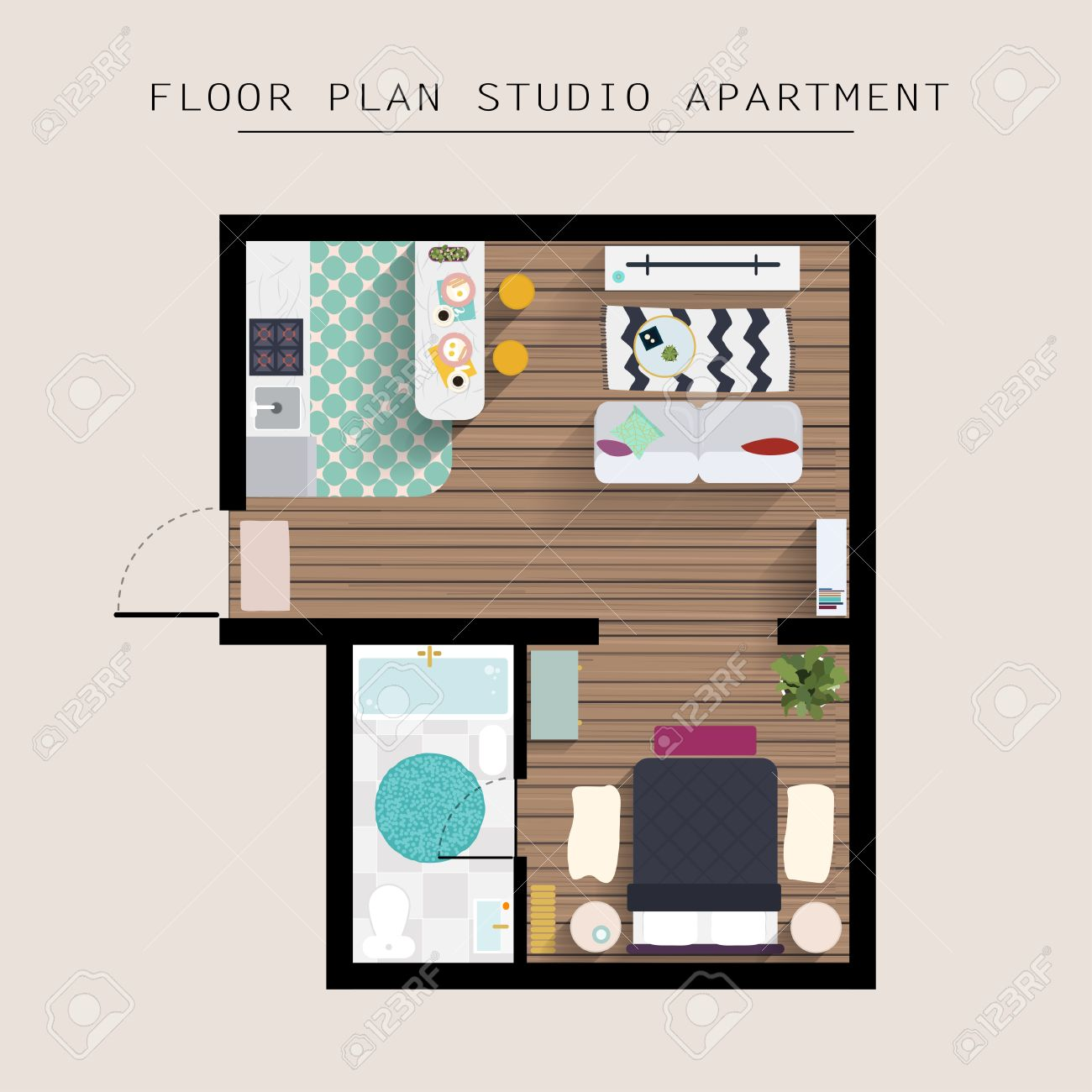 overhead bedroom furniture. Detailed Apartment Furniture Overhead Top View. Studio With One Bedroom. Flat Style Vector Bedroom