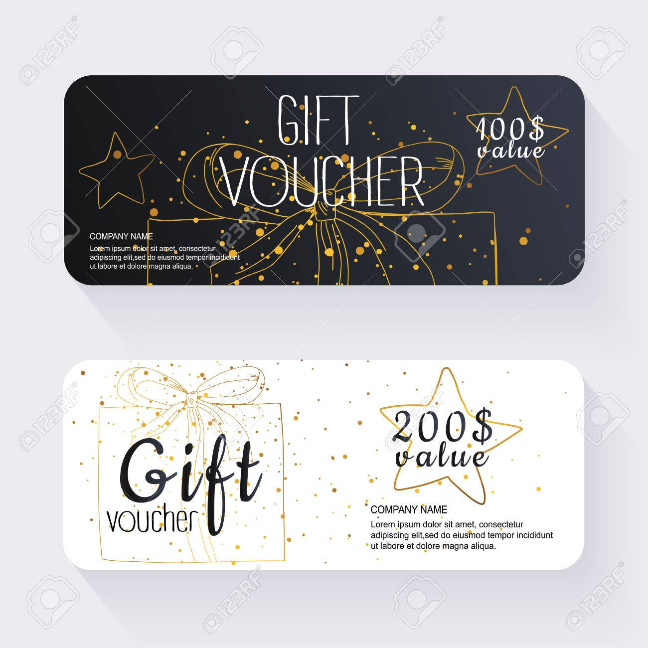 gift voucher template with gold gift box gift certificate