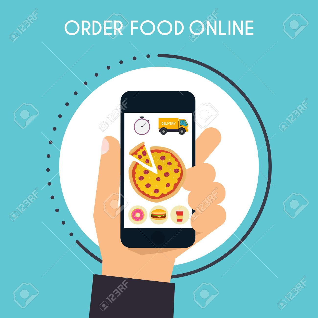 Hand Holding Mobile Smart Phone With Delivery Food App Order