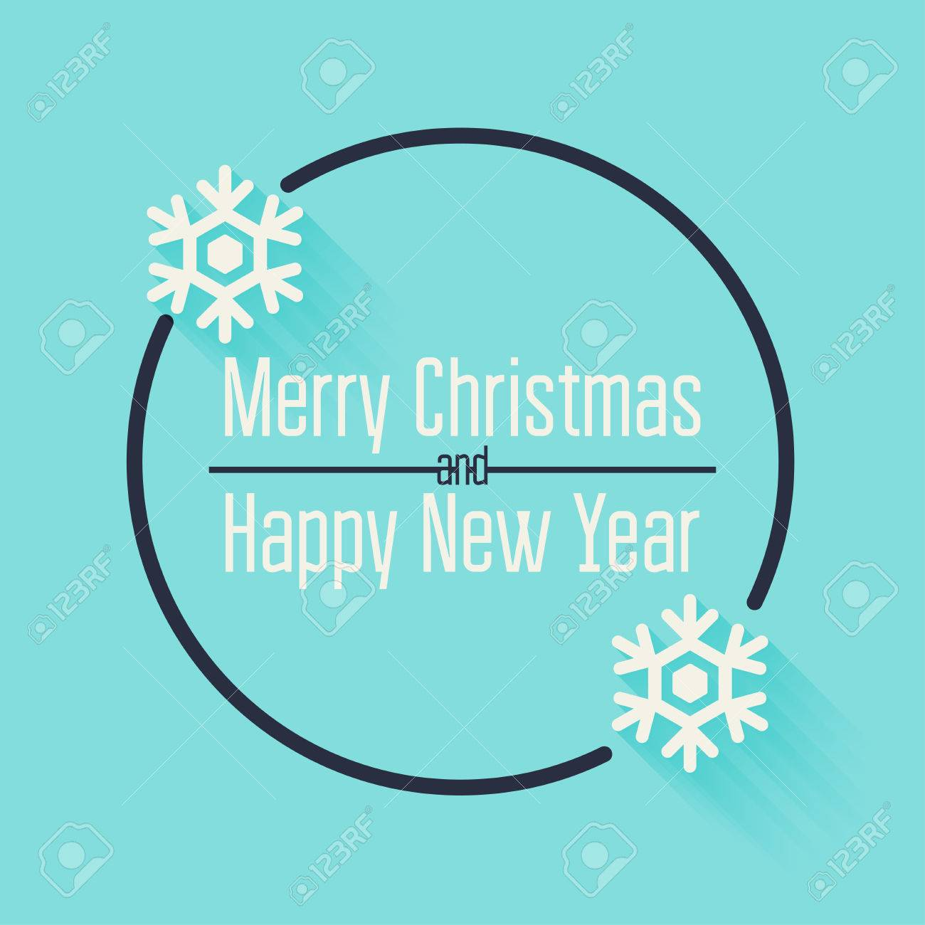 merry christmas and happy new year greeting card quote blank template stock vector