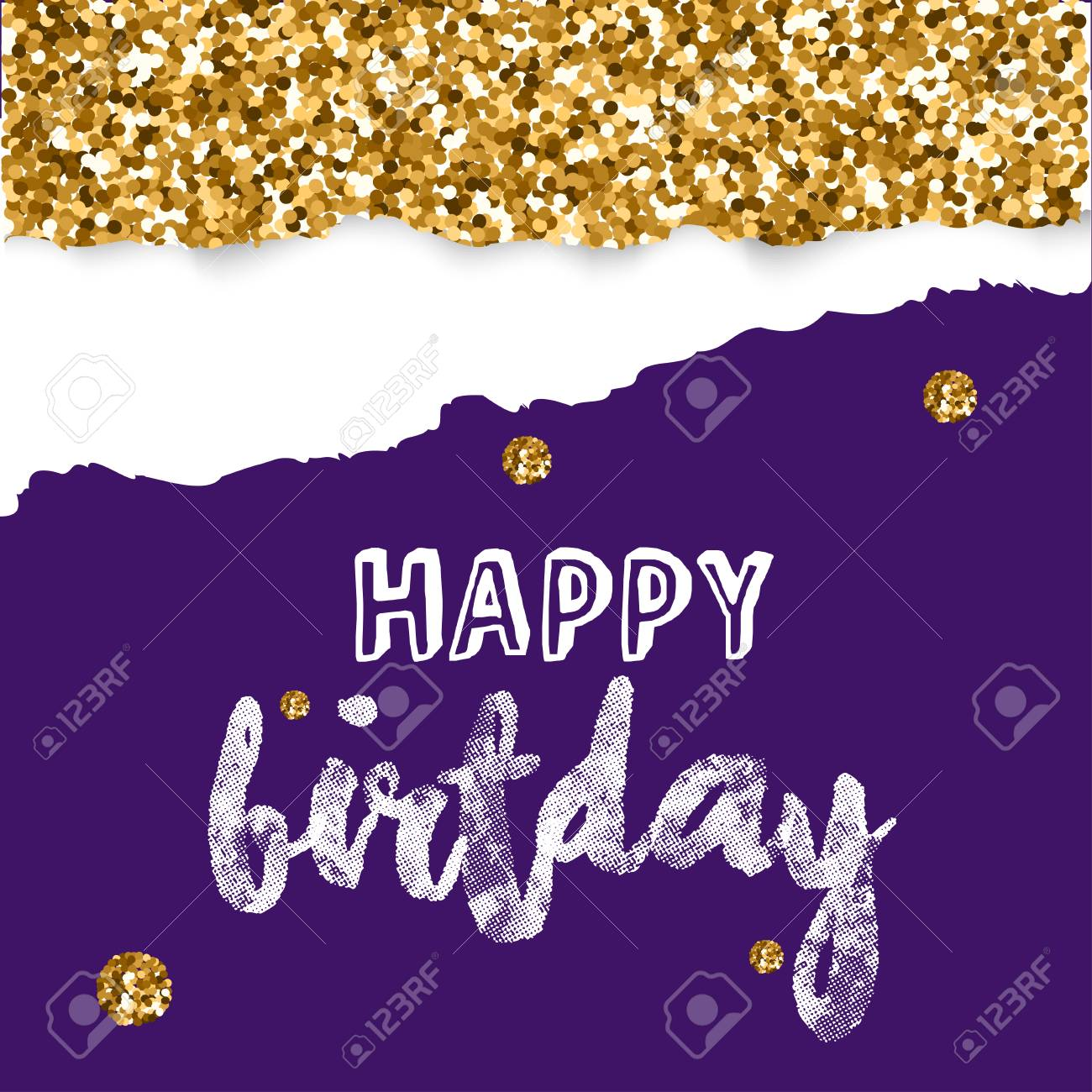Birthday Greeting Cards With Gold Glitter Design Vector Illustration Stock