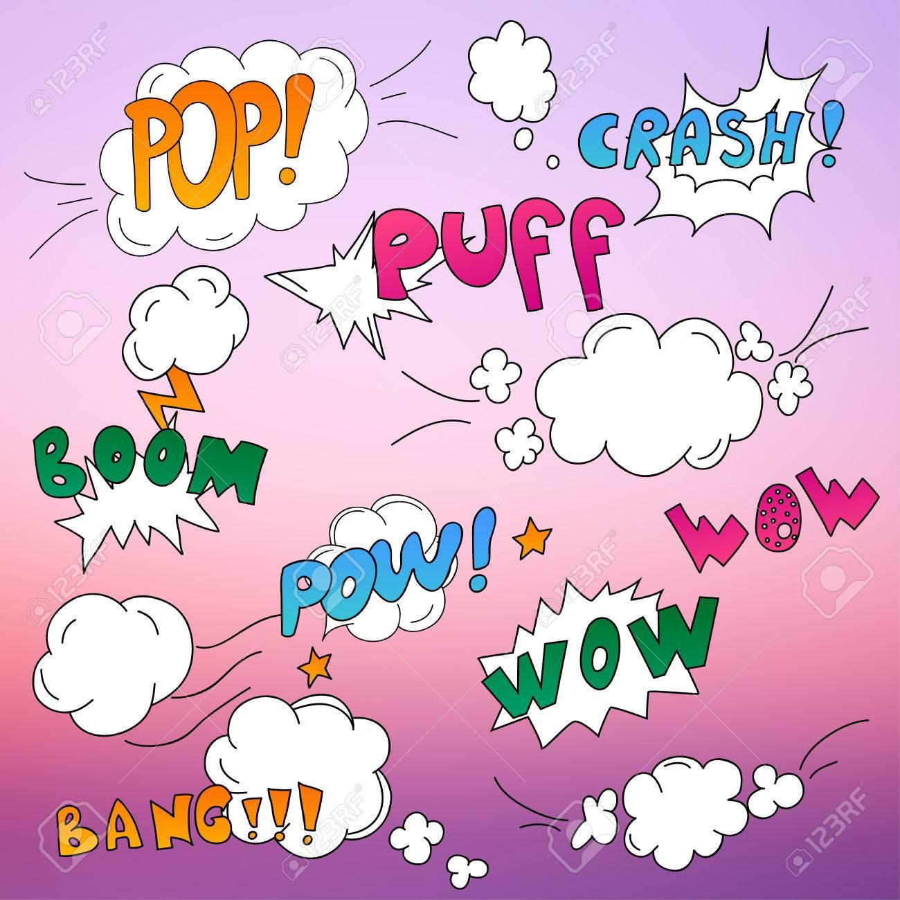 Comics Pop-Art Stil Leere Layout-Vorlage Mit Wolken Strahlen ...