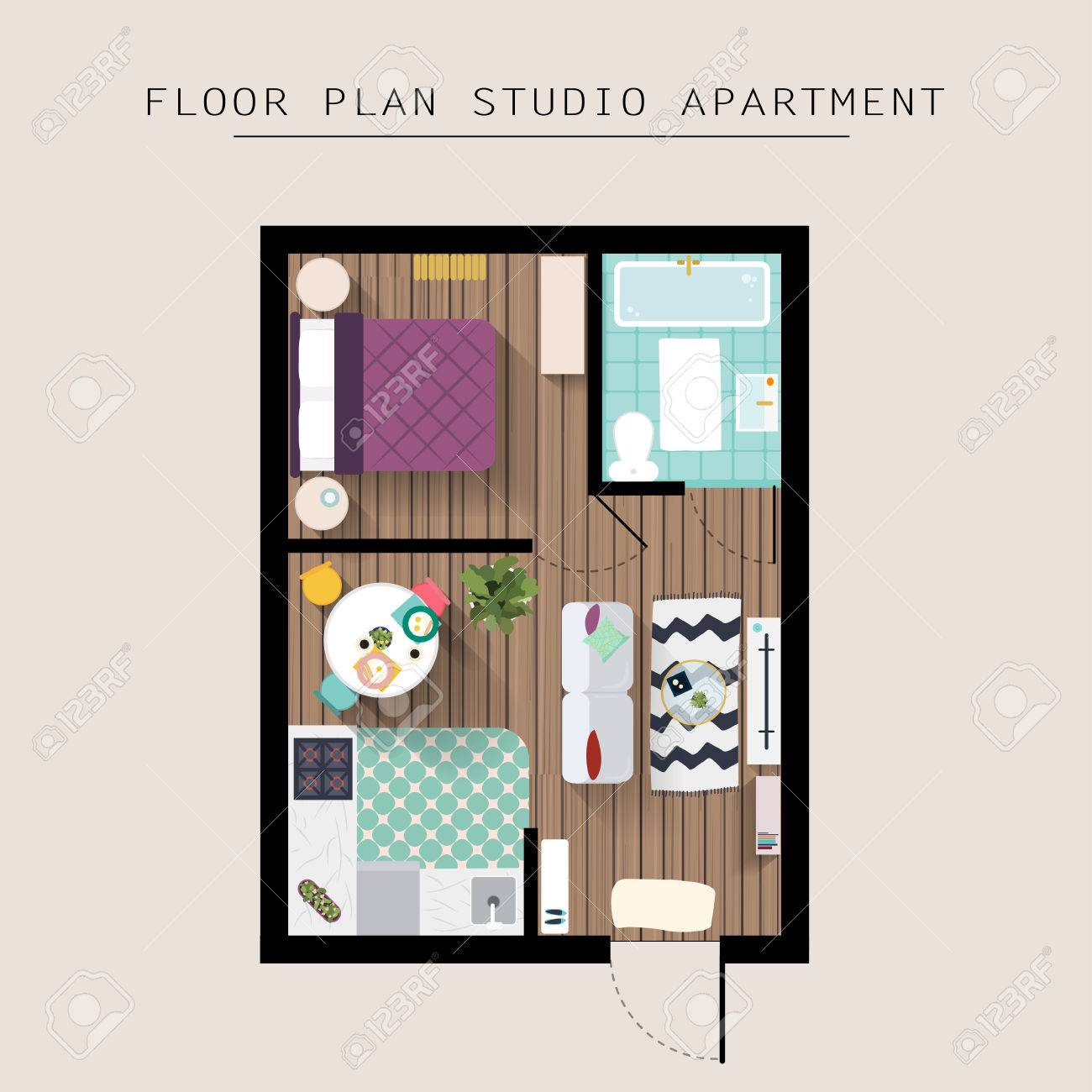 Single bedroom top view - Detailed Apartment Furniture Overhead Top View Studio Apartment With One Bedroom Flat Style Vector