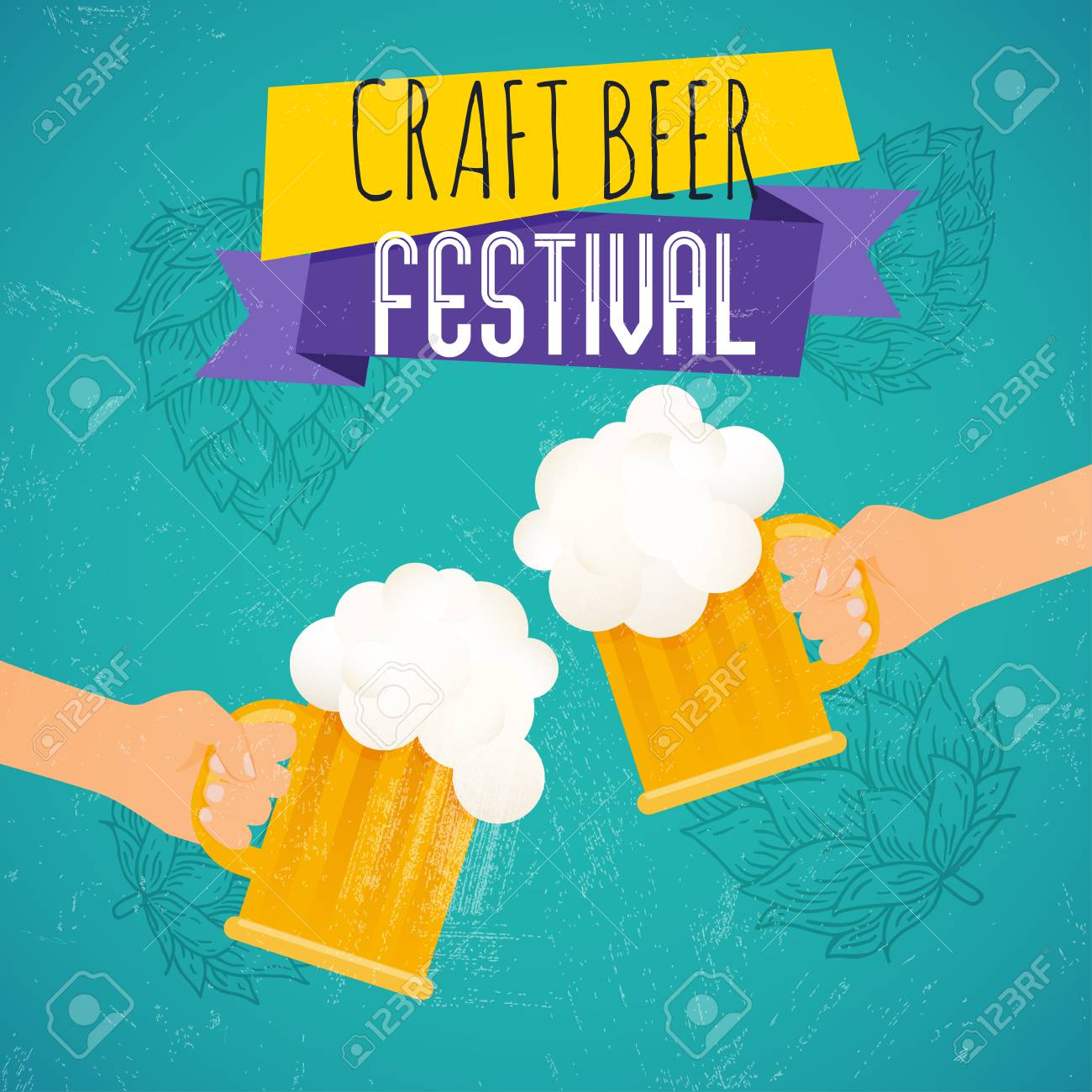 Craft Beer Festival Two Hands Holding Beer Glass Beer Festival