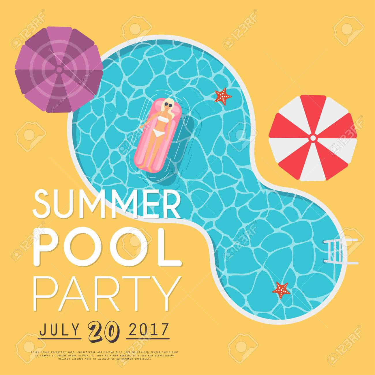 Summer pool party invitation flyer or banner template flat summer pool party invitation flyer or banner template flat design elements minimalist style stopboris Image collections
