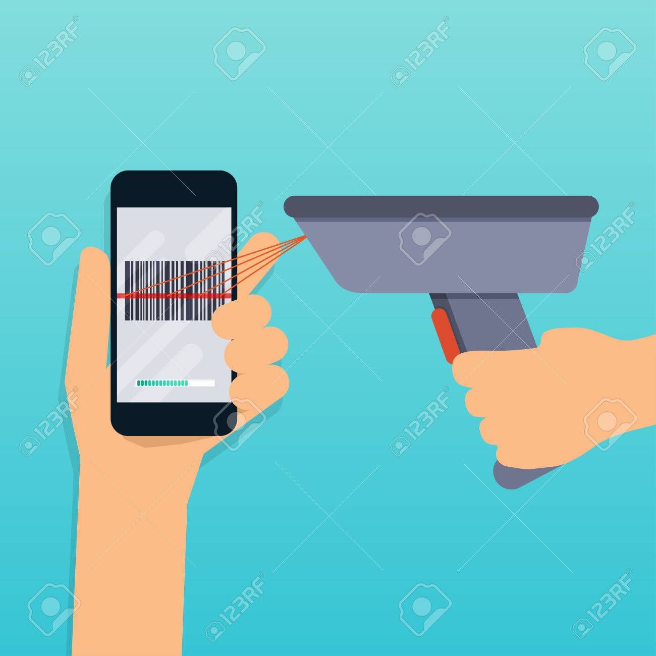 A Barcode Scanner Scanning A Bar Code On A Mobile Phone Flat