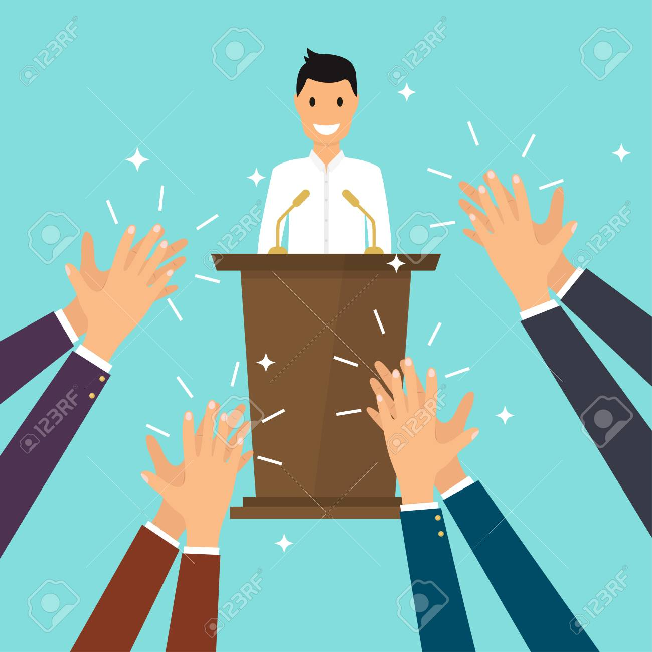 Success in business. Man giving a speech on stage. Human hands clapping. Flat design modern vector illustration concept. - 85649262