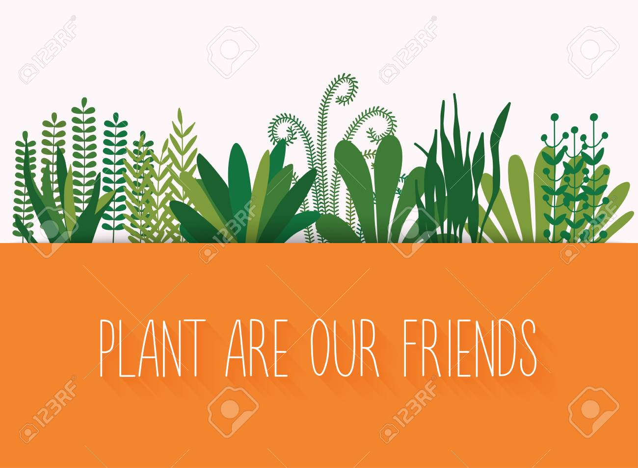 Plant Are Our Friends Set Of Decorative Plants Green Concept