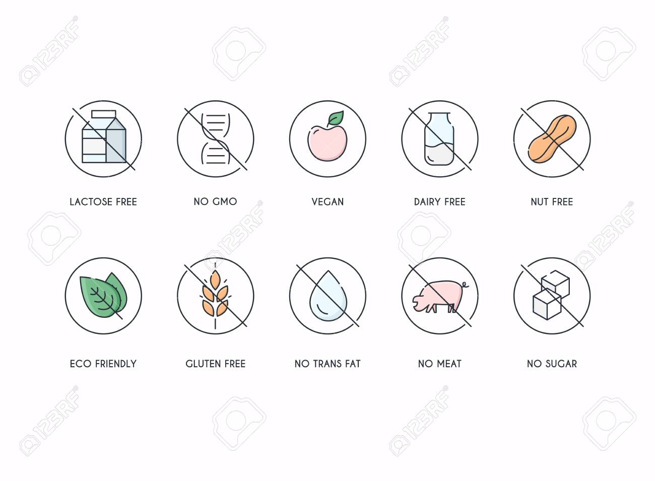 Badge Ingredient Warning Label Icons. Gluten, Lactose and Sugar Free Labels. - 141302173