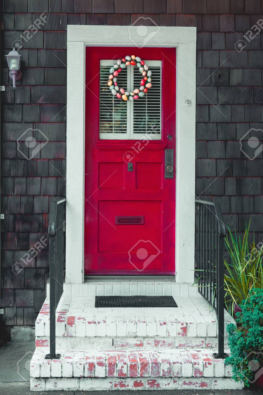 Colorful Easter Egg Wreath On A Front Red Door Stock Photo Picture