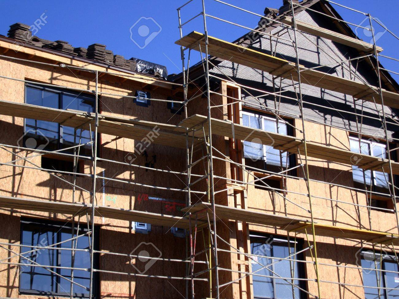 Construction Scaffolding For A New Apartment Building Stock Photo