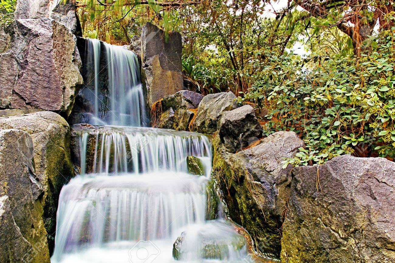 Japanese Garden Waterfall Stock Photo   8655133