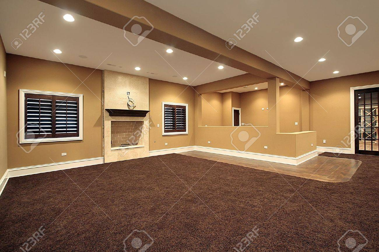 Lower level family room in new construction home Stock Photo - 6733269