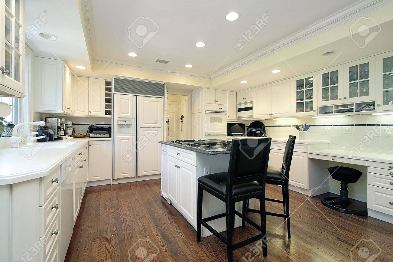 Kitchen Desk Area White Kitchen With Island And Desk Area Stock Photo Picture And