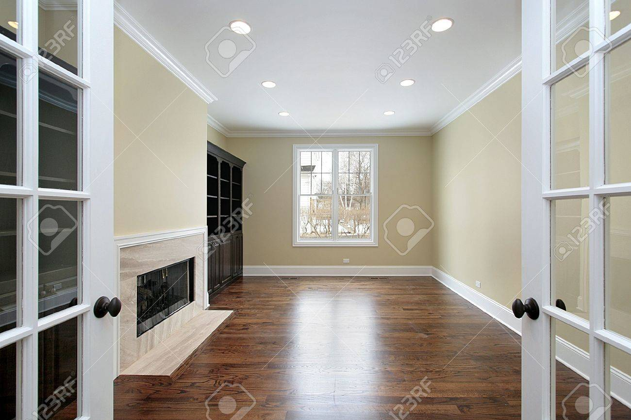 Library in new construction home with french doors Stock Photo - 6760939