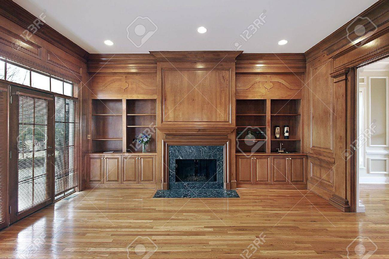 Library in luxury home with marble fireplace Stock Photo - 6732464