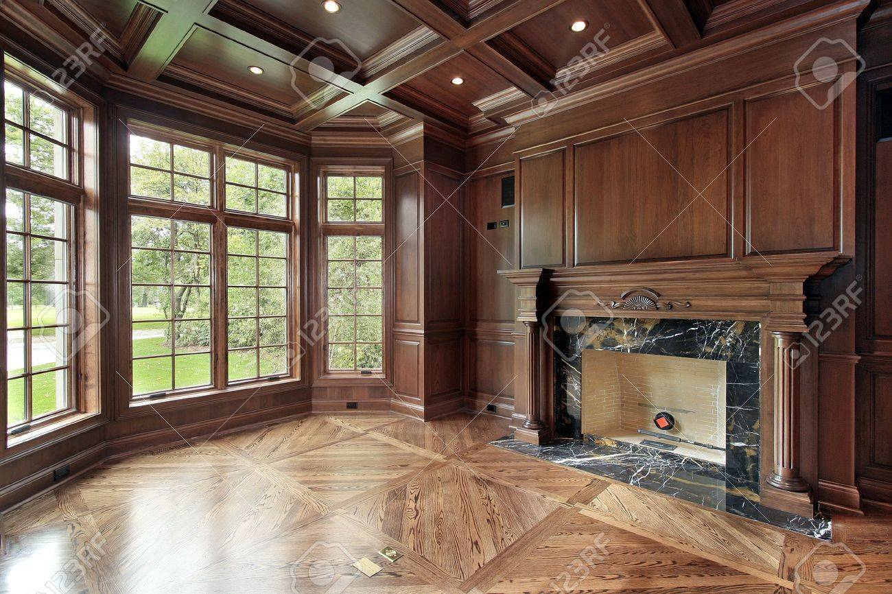 Library In New Construction Home With Marble Fireplace Stock Photo ...
