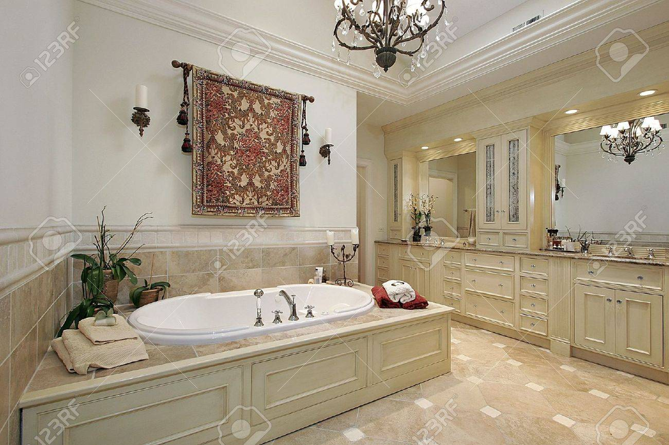 Master Bath In Luxury Home With Large Tub Stock Photo, Picture And ...