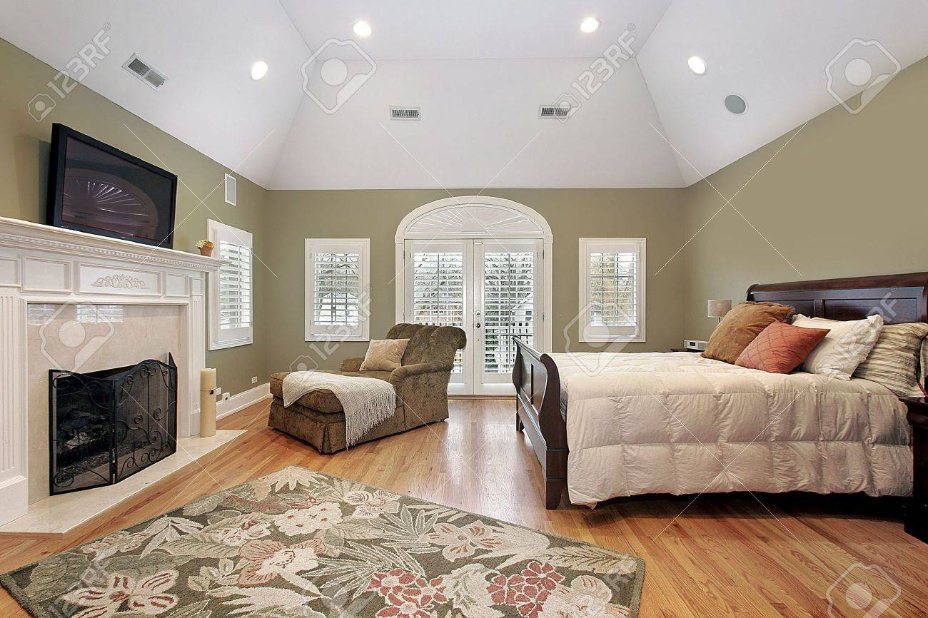 Master Bedroom In Luxury Home With Recessed Ceiling Stock Photo   6733007