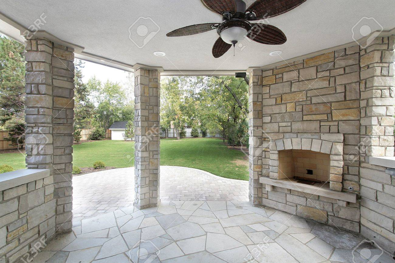 Stone Covered Patio In New Construction Home Stock Photo   6761168