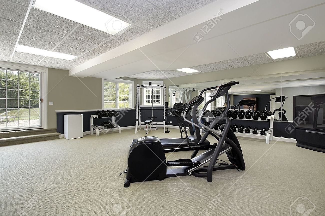 Exercise room in basement of luxury suburban home Stock Photo - 6732887