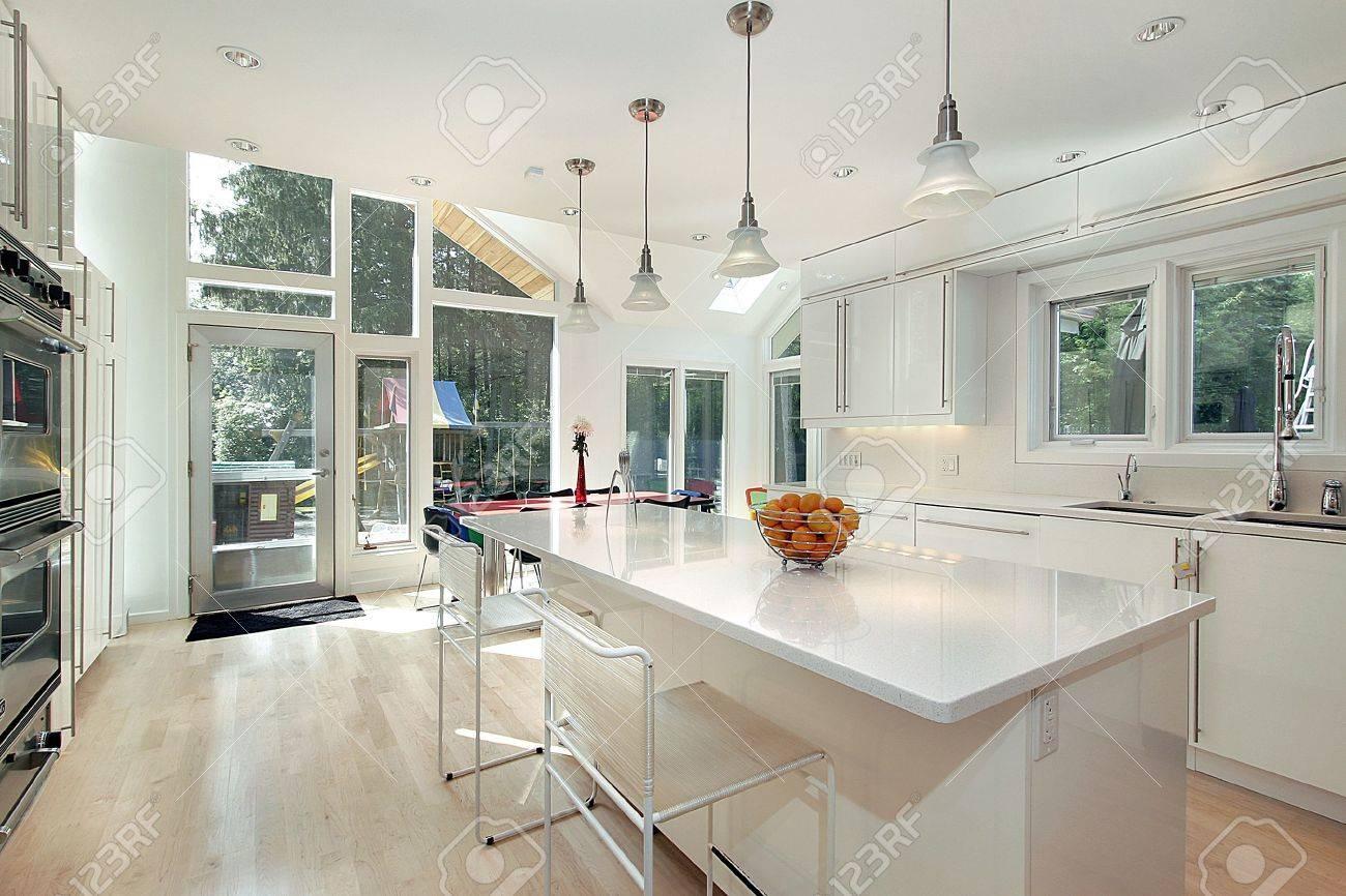 Kitchen Eating Area Sleek Modern White Kitchen With Eating Area Stock Photo Picture