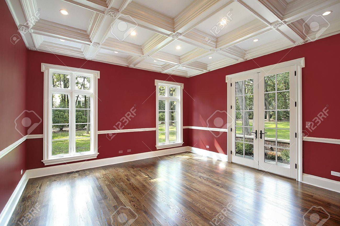 Library in new construction home with red walls Stock Photo - 6732478