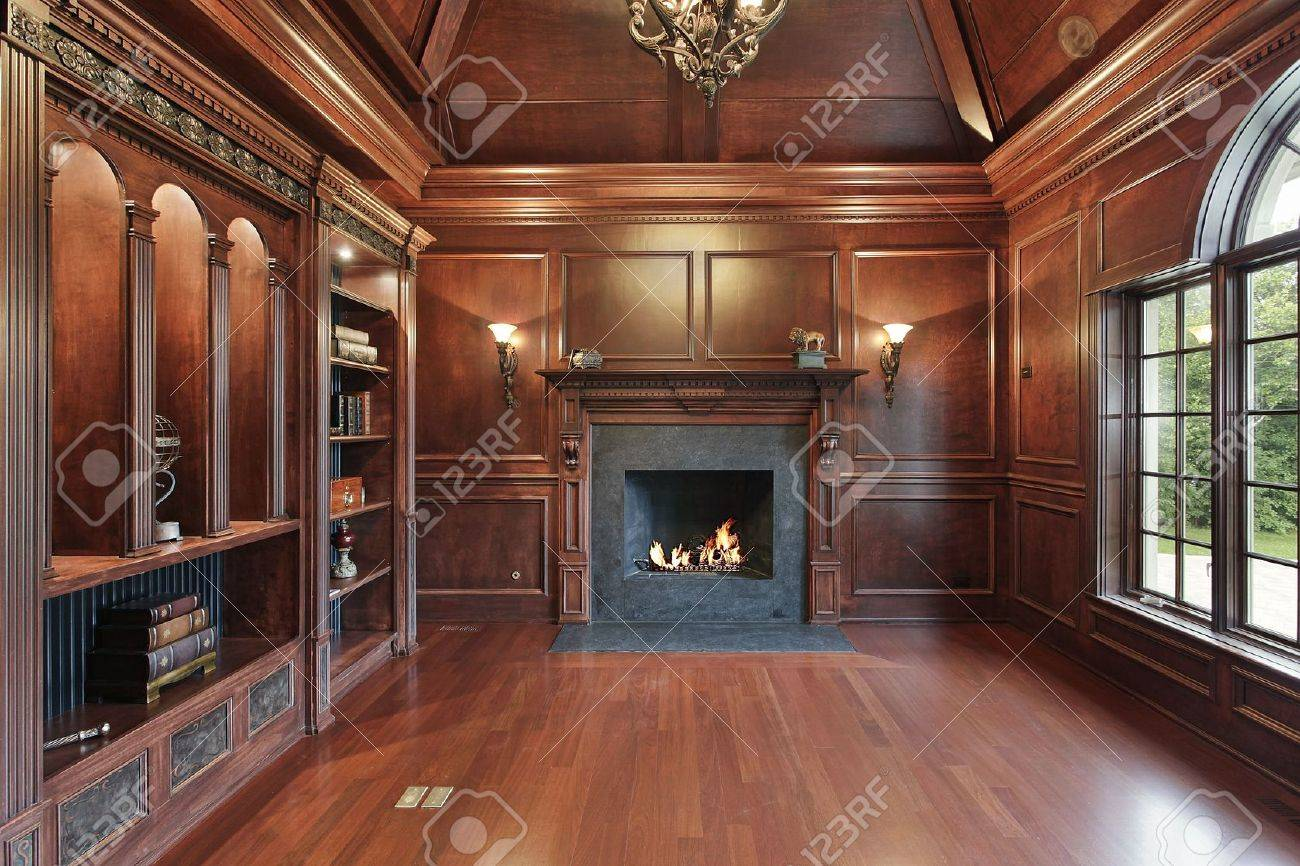 Elegant Library In Luxury Home With Black Marble Fireplace Stock Photo Picture And Royalty Free Image Image 6761185