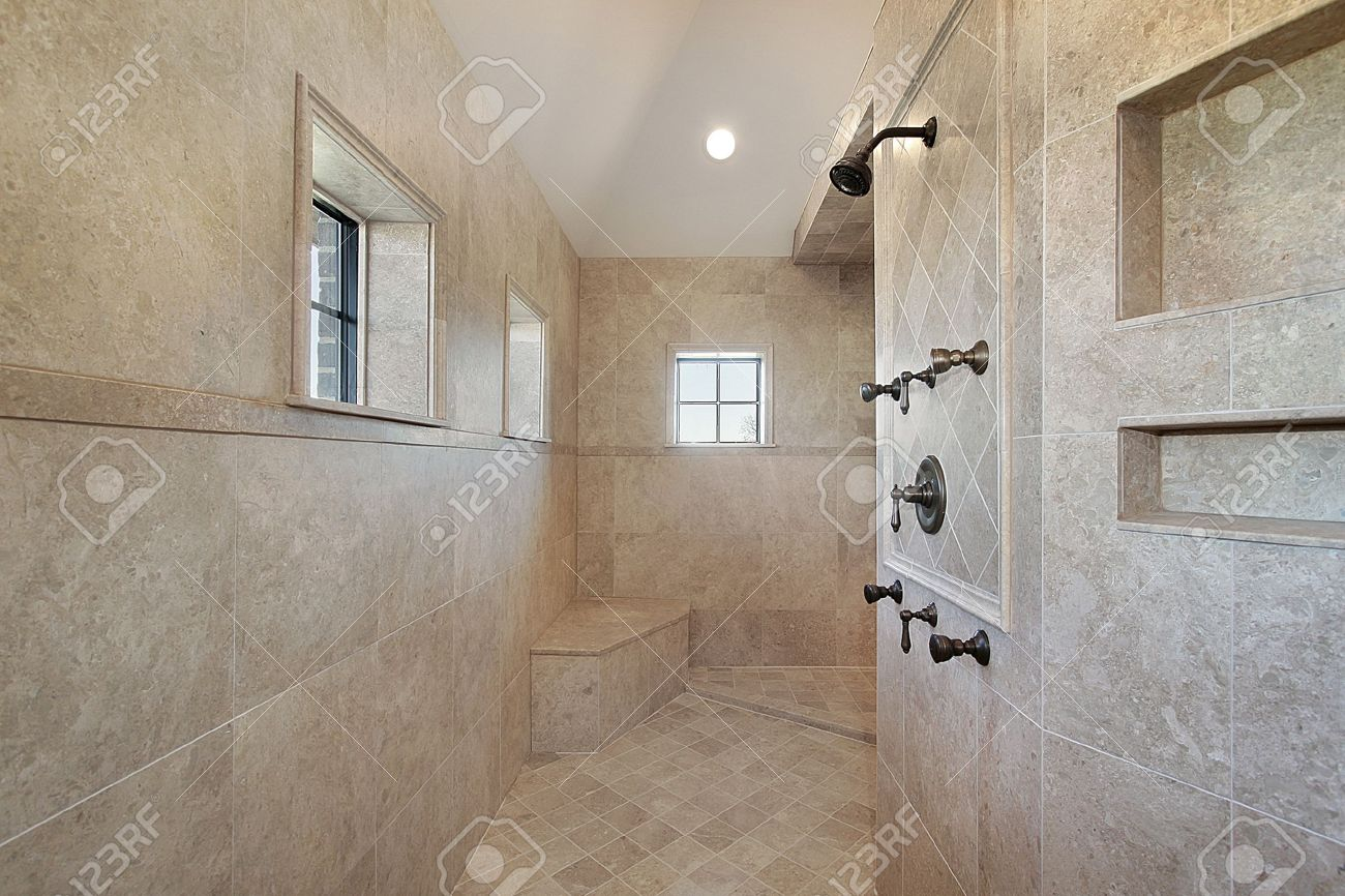 Large Open Air Master Bath Shower With Windows Stock Photo, Picture ...