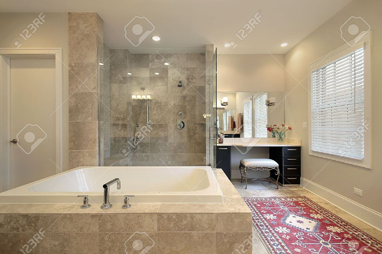 Master bath in luxury townhouse with glass shower Stock Photo - 6733273