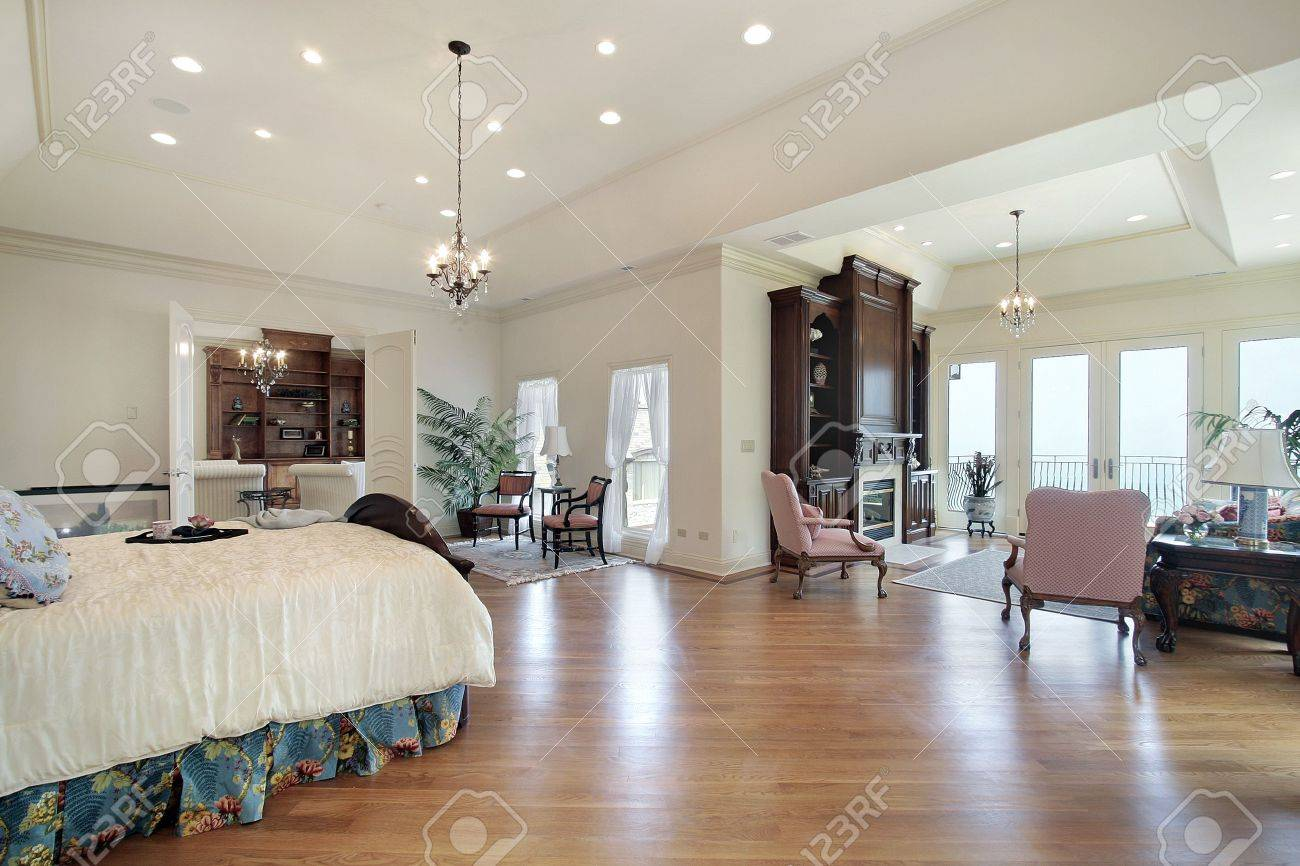 Luxury Homes Master Bedroom master bedroom in luxury home with sitting area stock photo