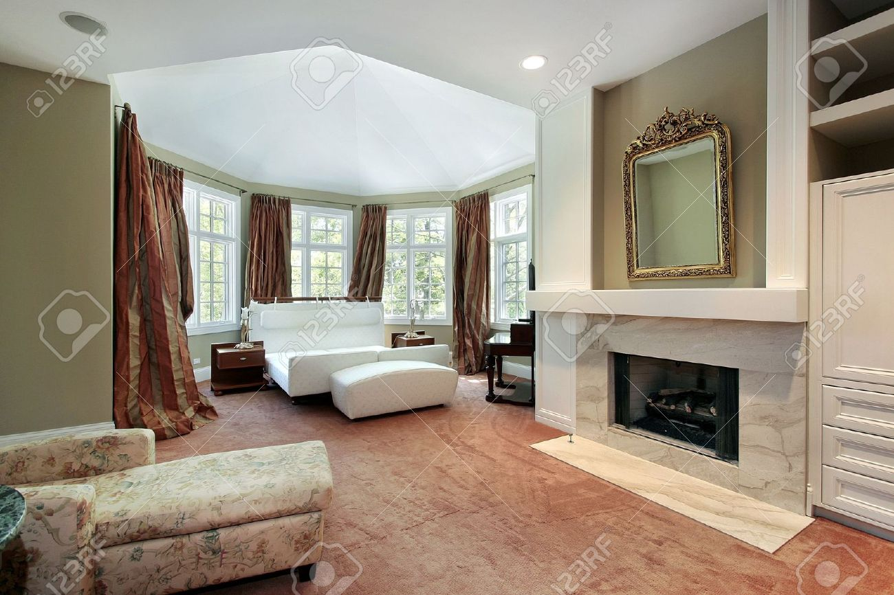 Master Bedroom Fireplace Master Bedroom In Luxury Home With Fireplace Stock Photo Picture