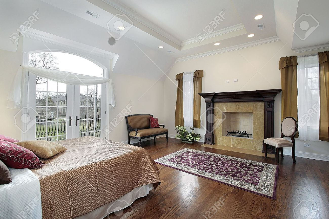 Master bedroom in new construction home with fireplace Stock Photo - 6732983