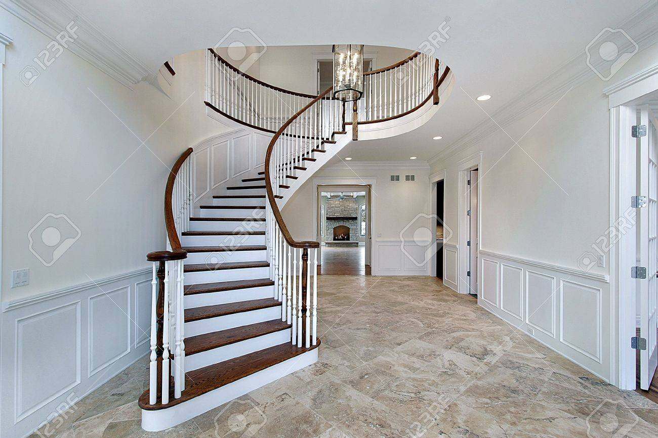 Foyer In New onstruction Home With Marble Flooring Stock Photo ... - ^