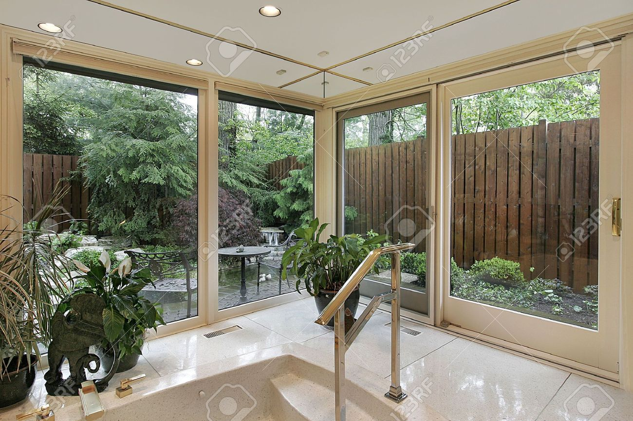 Master Bath In Luxury Home With Garden View Stock Photo, Picture And ...