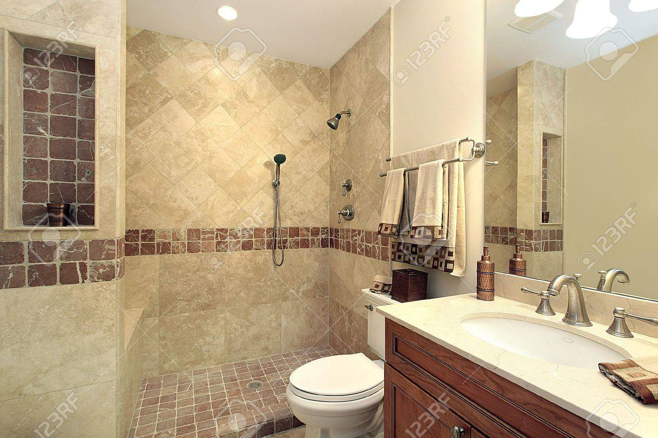 Master Bath In Luxury Home With Stone Shower Stock Photo Picture