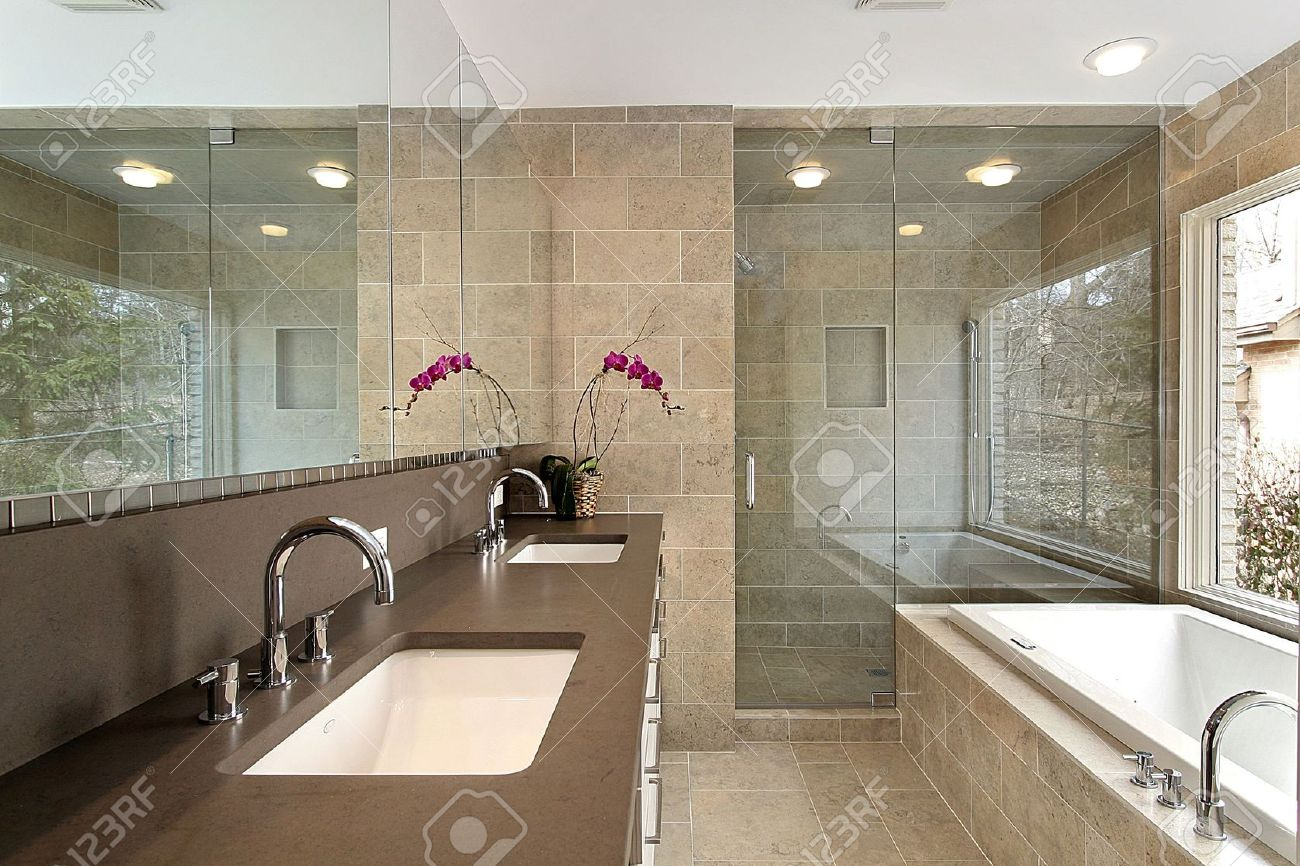 Master bath in modern home with glass shower Stock Photo - 6733382