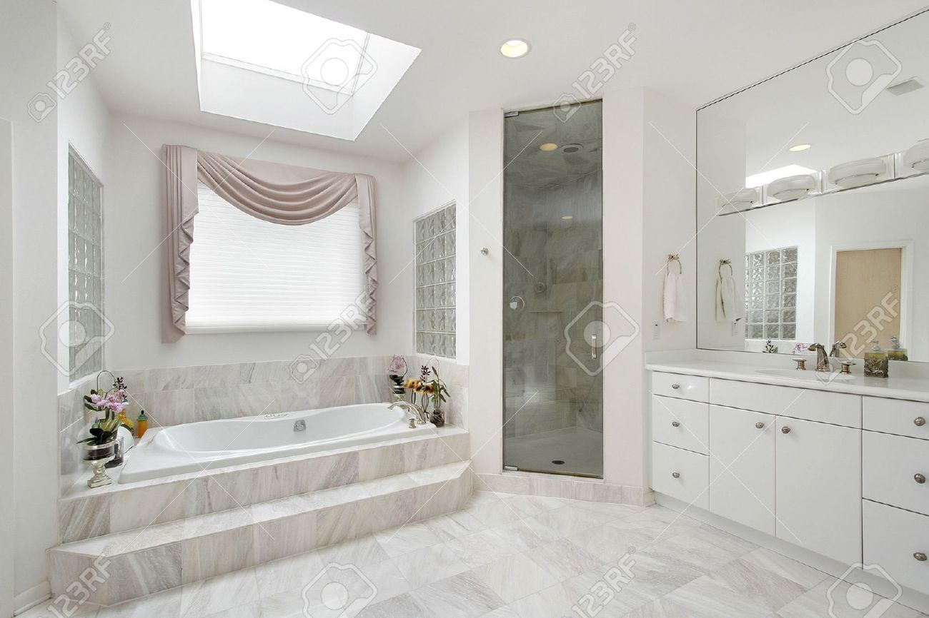 Master Bath In Luxury Home With Marble Tub Stock Photo Picture And Royalty Free Image Image 6732416