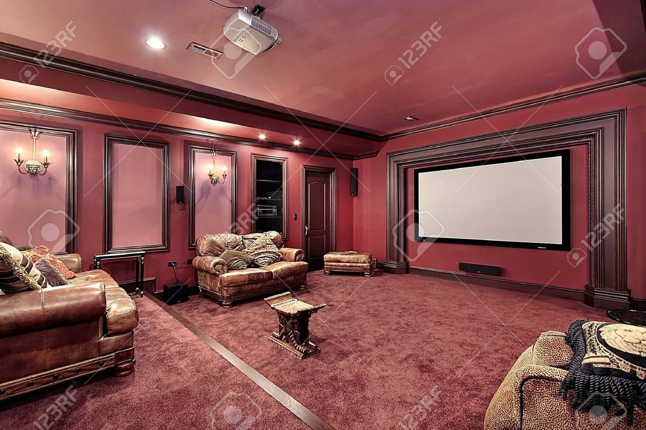 Large theater in luxury home with maroon walls Stock Photo - 6733388