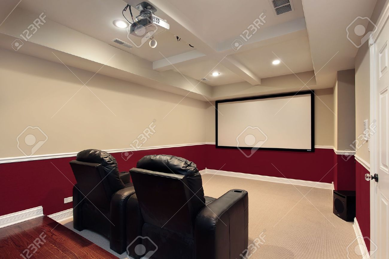 Media room seating furniture - Leather Theater Seats Media Room In Luxury Home With Home Theater Chairs Stock Photo