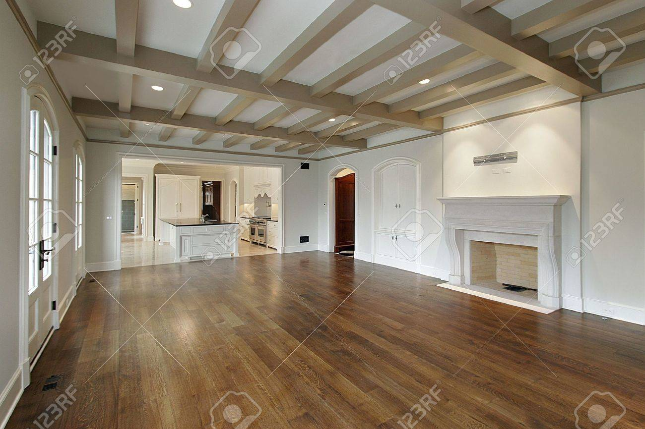 Family room in new construction home with wood ceilings Stock Photo - 6733427