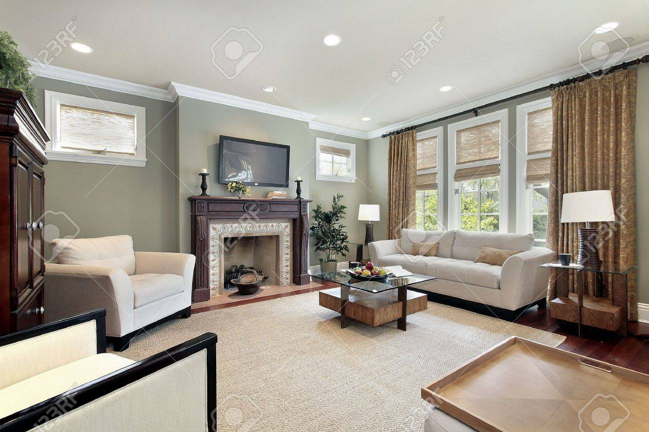 Family room in luxury home with wood fireplace Stock Photo - 6733472