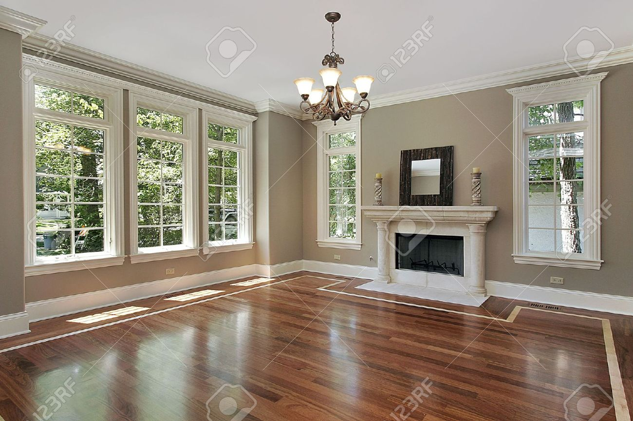 living room in new construction home with fireplace stock photo