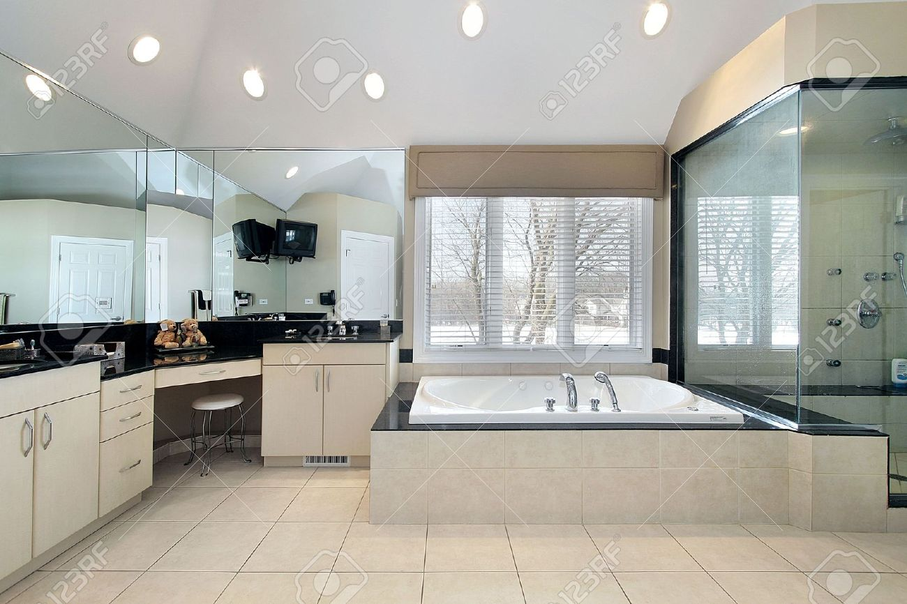 Master bath in luxury home with glass shower Stock Photo - 6732924
