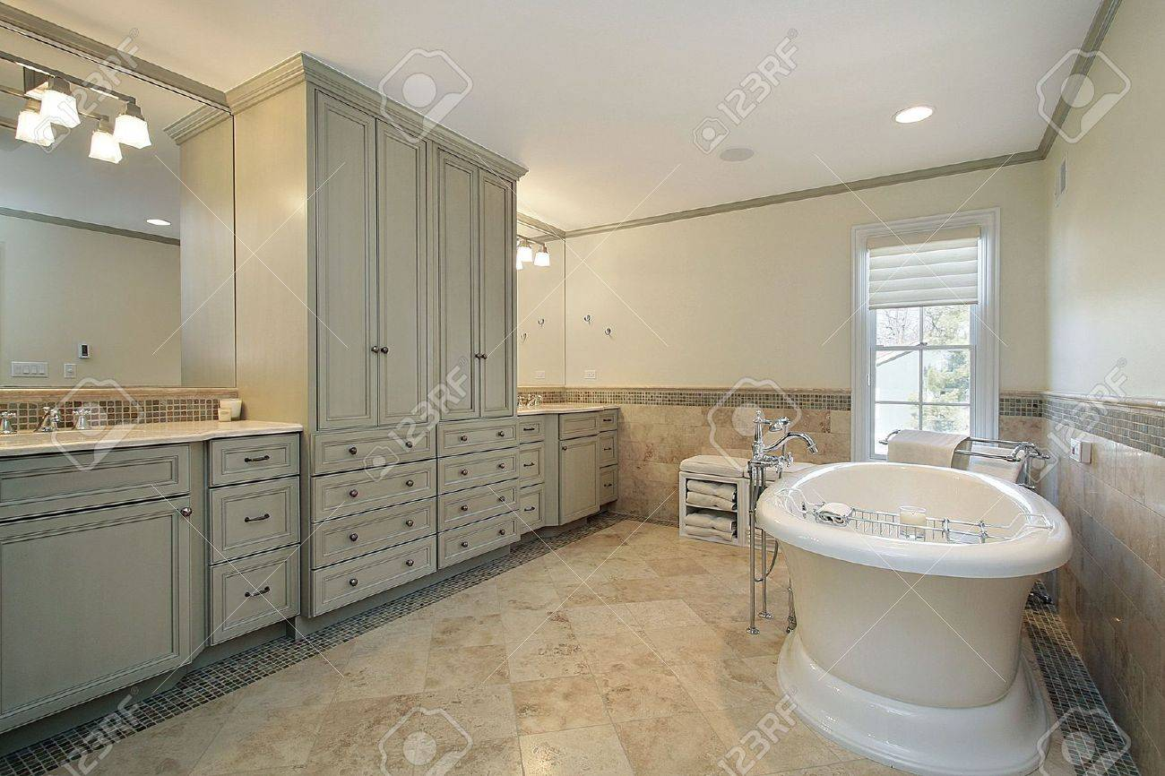 Luxury Master Bath With Large White Tub Stock Photo Picture And