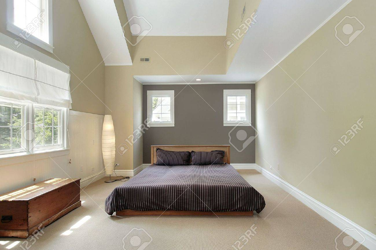 Master bedroom in comtemporary home with trey ceiling Stock Photo - 6732460