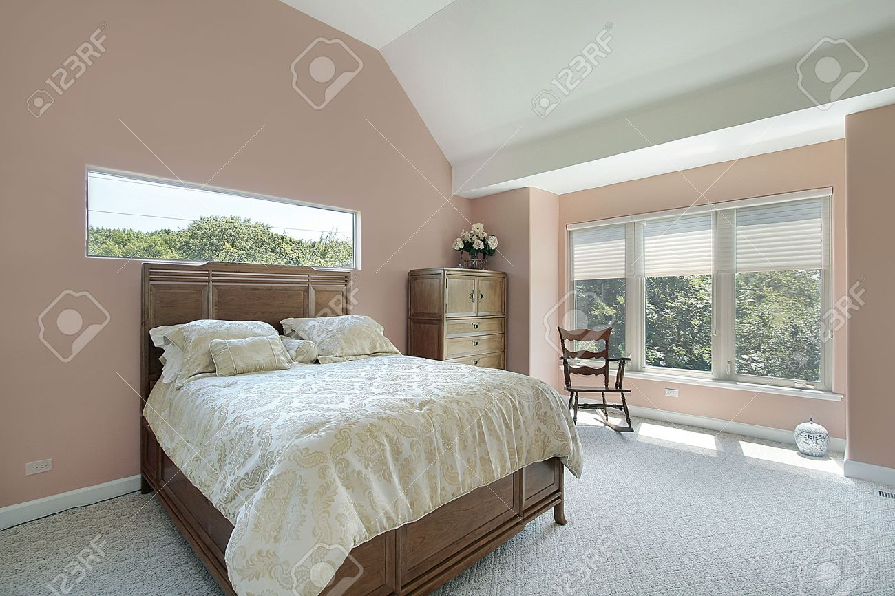 Mauve Bedroom. Master bedroom in suburban home with mauve colored walls Stock Photo  6761143 Bedroom In Suburban Home With Mauve Colored Walls