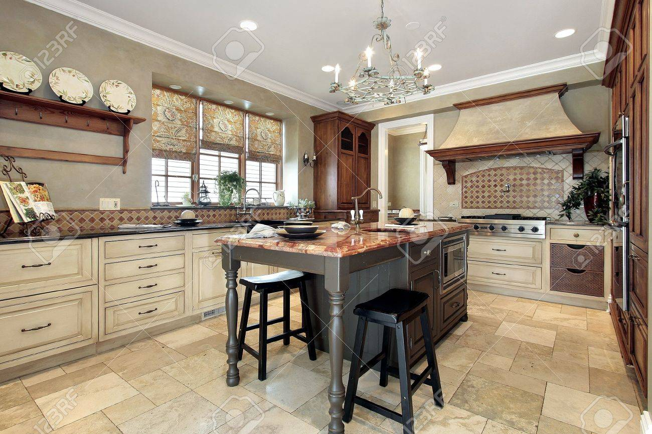 Granite Island Kitchen Kitchen In Luxury Home With Granite Island Stock Photo Picture