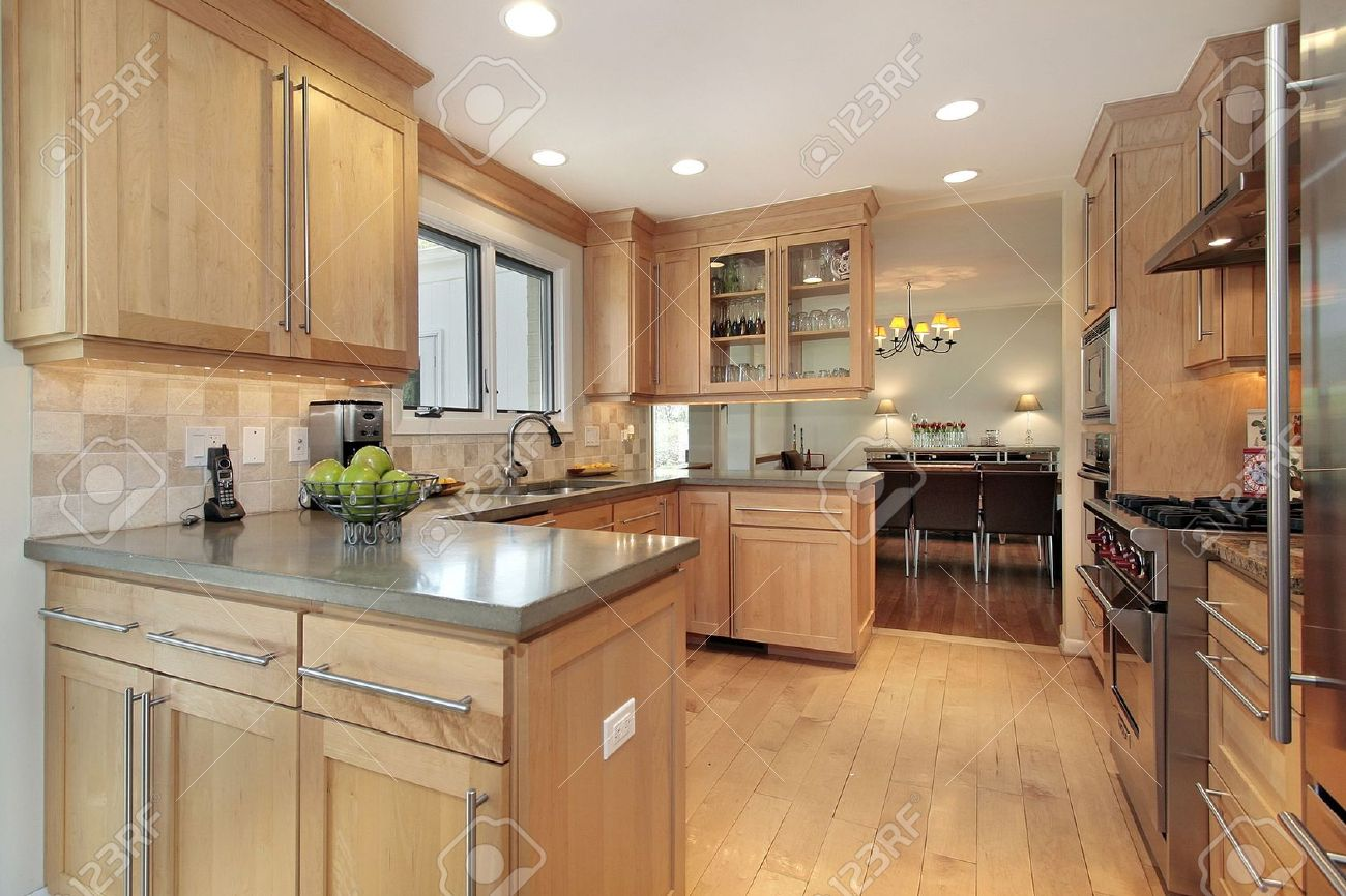 Kitchen In Luxury Home With Oak Wood Paneling Stock Photo   6733139