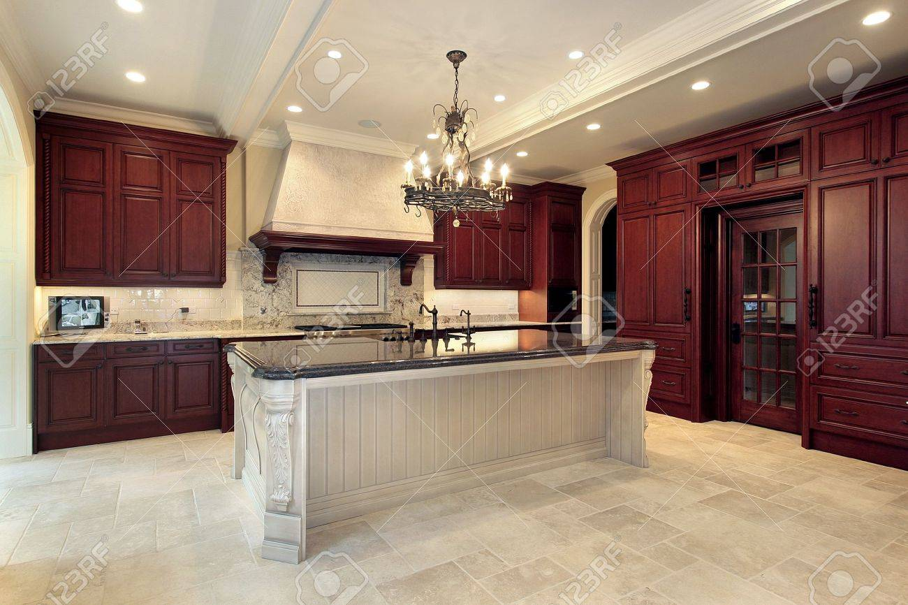Kitchen In Luxury Home With Cherry Wood Paneling Stock Photo ...